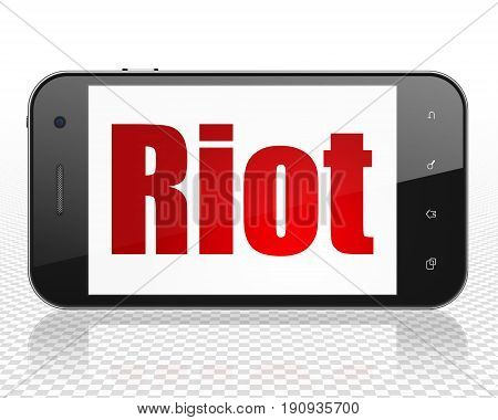 Political concept: Smartphone with red text Riot on display, 3D rendering