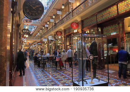 SYDNEY AUSTRALIA - JUNE 1, 2017: Unidentified people visit Strand shopping arcade.