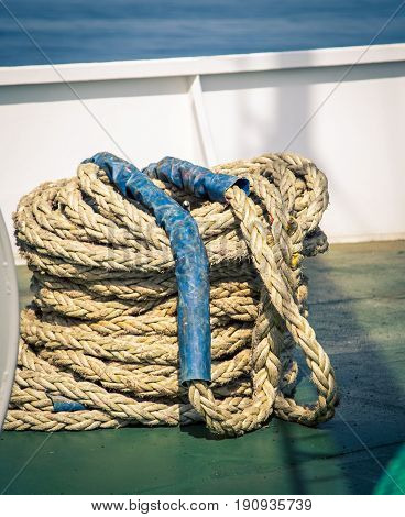 A coil of rope on a boat in Nova Scotia