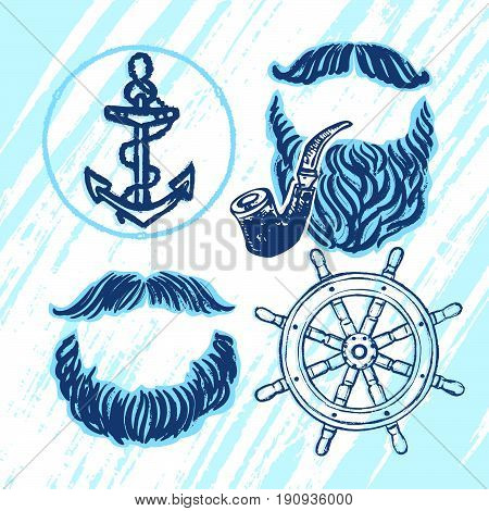 Ink hand drawn seafarer's elements for party decoration Vector mustaches beards smoking pipe ship anchor and wheel