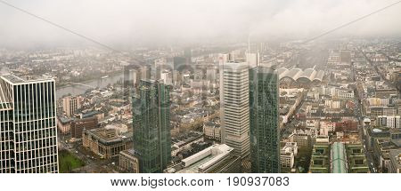 Frankfurt, Germany - DECEMBER, 2016: Frankfurt aerial view at foggy day