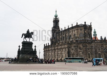 DRESDEN, GERMANY - APRIL, 2016: Dresden Cathedral / Catholic Church of the Royal Court of Saxony