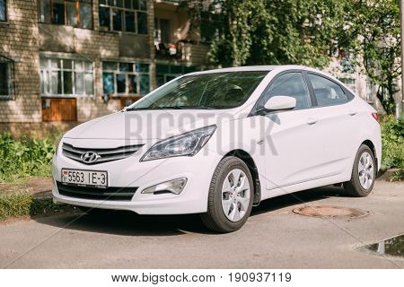 Gomel, Belarus - May 27, 2017: Hyundai Accent Verna Solaris Sedan Car Parked In Street Of Residential Area. Hyundai Accent Produced By Hyundai Motor Company Is A South Korean Automotive Manufacturer