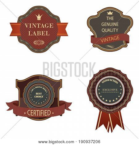 Set of vector vintage luxury retro labels templates.