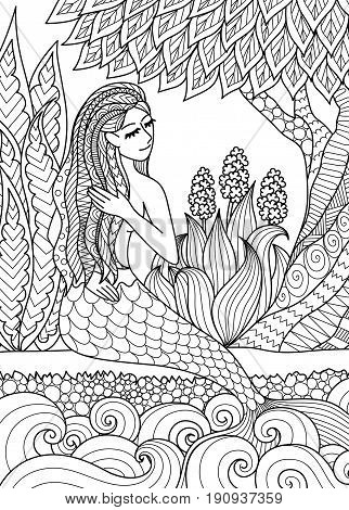 Pretty mermaid sitting by the river arrange her hair design for adult coloring book page. Vector illustration.