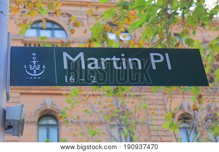 SYDNEY AUSTRALIA - JUNE 1, 2017: Martin Place street sign. Martin Place is a prehistorian street with department stores and shops in downtown Sydney.