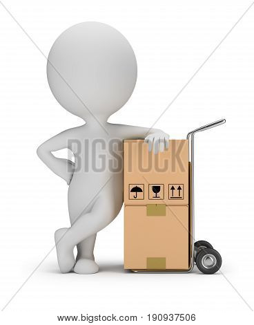3d small person leans on a cart with boxes. 3d image. White background.
