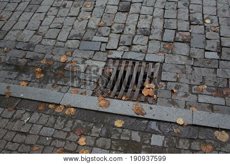 Drain on the road To prevent flooding on the road. A manhole cover in the city autumn. Grill of waterspout sewage drain way on road surface