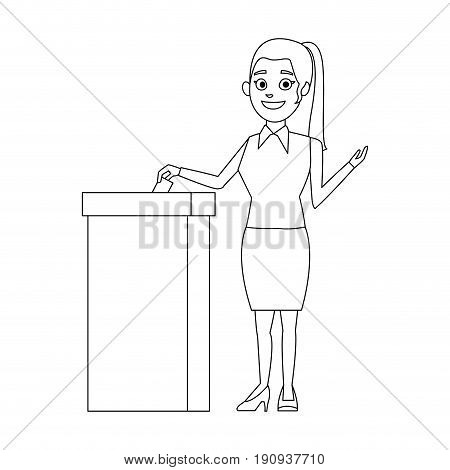 woman putting voting paper in the ballot box vector illustration