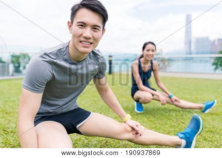 Man and woman doing sport together