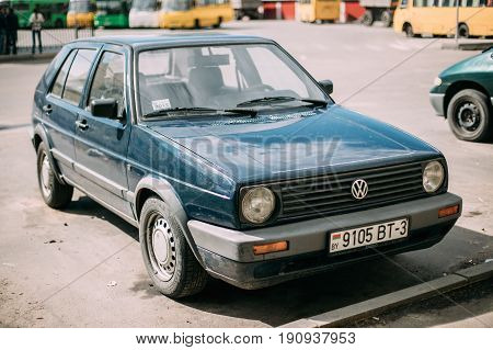 Gomel, Belarus - May 27, 2017: Volkswagen Golf II Hatchback Car Parked In Street. Golf Mk2 Is A Compact Car, The Second Generation Of The Volkswagen Golf  Produced By German Automaker Volkswagen