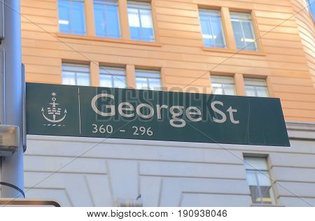 SYDNEY AUSTRALIA - JUNE 1, 2017: George street sign. George street is the main street with shopping malls and office buildings in downtown Sydney.