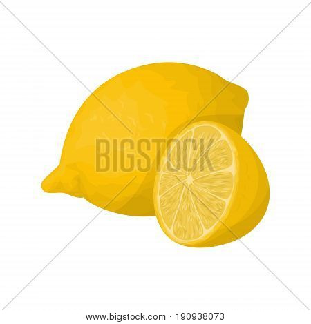 Isolated lemon fruit on white background. Sour and healthy frui.