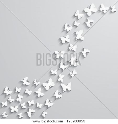 Abstract vector background with paper butterfly in the wave form.