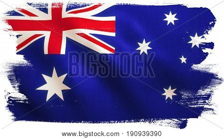 Australia flag background with fabric texture. 3D illustration.