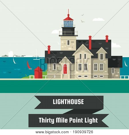 Lighthouse.Thirty Mile Point Light.Lighthouse on rock stones island cartoon vector background. Flat vector illustration