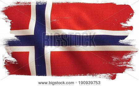 Norway flag background with fabric texture. 3D illustration.