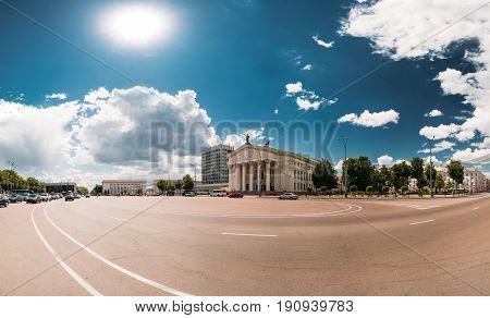 Gomel, Belarus. Building Of Gomel Regional Drama Theatre On Lenin Square. Panorama In Sunny Summer Day.