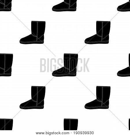 Warm winter blue ugg boots. Comfortable winter shoes for everyday wear .Different shoes single icon in black pattern vector symbol stock web illustration.