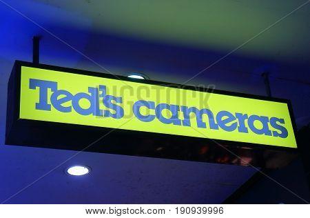 SYDNEY AUSTRALIA - JUNE 1, 2017: Teds camera. Teds camera is an Australian camera shop operating nationwide.