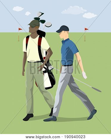 Golf player with club o the grass. Blue sky. Active sport. Couple of players.