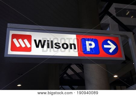 SYDNEY AUSTRALIA - JUNE 1, 2017: Wilson car park sign. Wilson is a car park management company firstly opened for business in Perth operating worldwide.