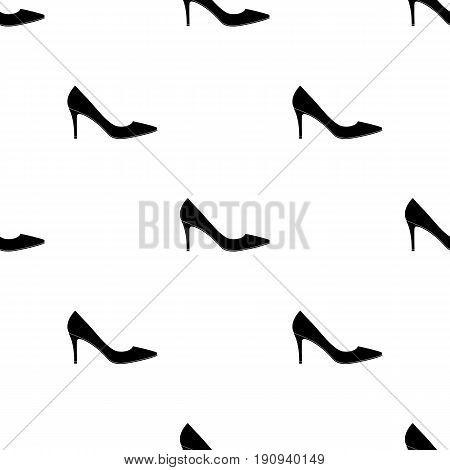 Black womens highheeled shoes exit in a dress.Different shoes single icon in black pattern vector symbol stock web illustration.