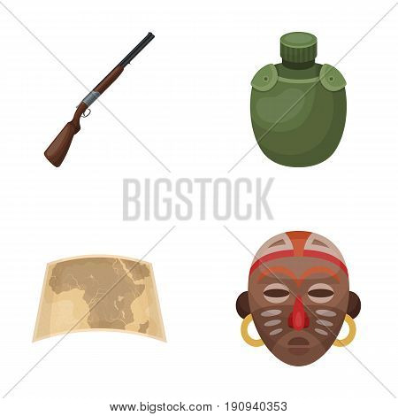 Hunting rifle, flask in the case, map, African mask. African safari set collection icons in cartoon style vector symbol stock illustration .