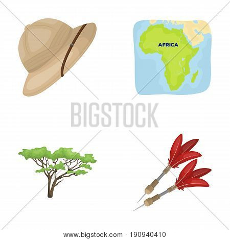Cork hat, darts, savannah tree, territory map. African safari set collection icons in cartoon style vector symbol stock illustration .
