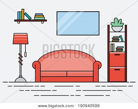 Flat linear modern design living room with pink sofa. Vector illustration of Interior living room