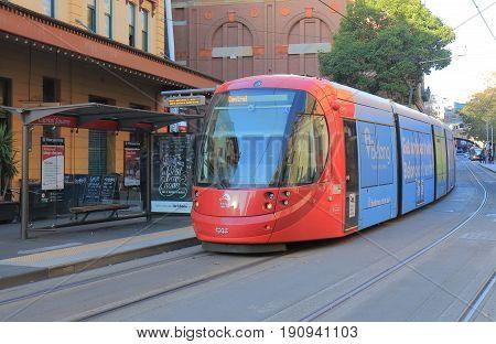 SYDNEY AUSTRALIA - JUNE 1, 2017: Light rail train runs in downtown Sydney.