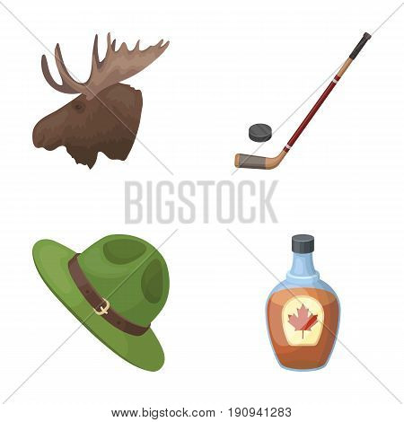 A canadian policeman's hat, a bottle of maple syrup and other Canadian symbols.Canada set collection icons in cartoon style vector symbol stock illustration .