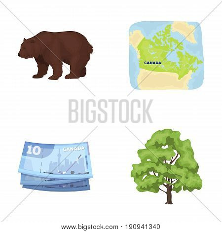 Canadian dollar, territory map and other symbols of the country.Canada set collection icons in cartoon style vector symbol stock illustration .