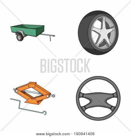 Caravan, wheel with tire cover, mechanical jack, steering wheel, Car set collection icons in cartoon style vector symbol stock illustration.