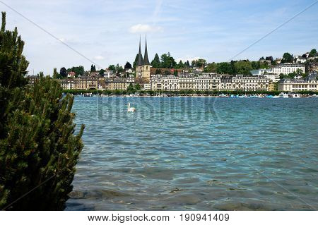 View across the Lake Lucerne (Vierwaldstättersee) and the embankment of the old town Lucerne