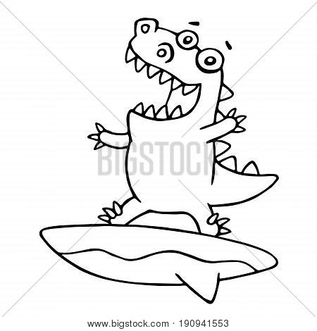 Funny dragon surfer caught a wave. Vector illustration. Cartoon cute sportsman character on surfboard.
