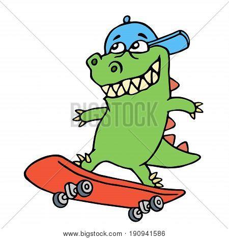 Dolly cartoon dragon in a cap rides on a skateboard. Vector illustration. Cute imaginary animal character.
