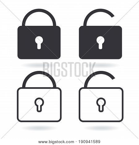 Vector Lock line icon and black Lock Icon isolated on white. Set of security symbol for your web site design logo app UI