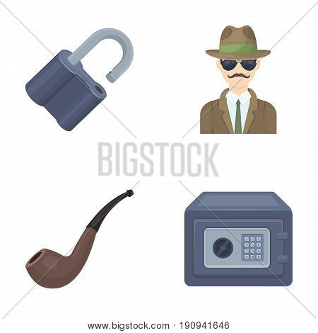 Lock hacked, safe, smoking pipe, private detective.Detective set collection icons in cartoon style vector symbol stock illustration .
