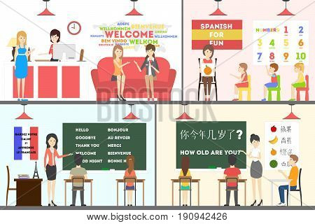 Language school interior set. Adults and children learn new languages.