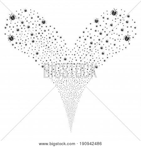 Bug fireworks stream. Vector illustration style is flat gray iconic bug symbols on a white background. Object fountain constructed from random symbols.