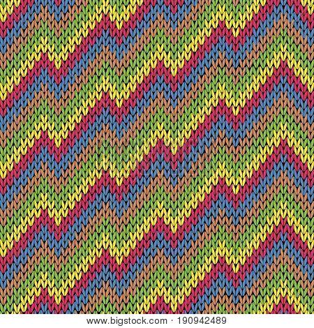 Colouful Zigzag Line Knitting Seamless Pattern