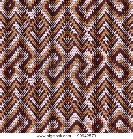 Knitting Seamless Pattern In Light Pink And Brown