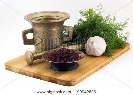 Composition Of Spices, Berberis, Dill, Garlic, Vintage Spice Grinder Isolated On White Background
