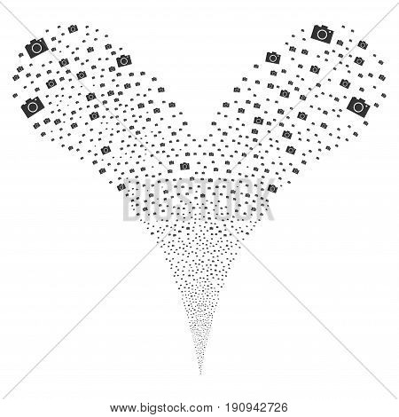 Camera source stream. Vector illustration style is flat gray iconic camera symbols on a white background. Object fountain made from random pictograms.