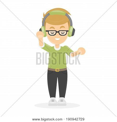 Boy with headphones on white background. Idea of listening to the music.