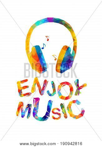 Enjoy Music. Vector Trianular Inscription