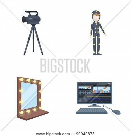 A movie camera, a suit for special effects and other equipment. Making movies set collection icons in cartoon style vector symbol stock illustration .