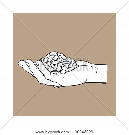 Side view hand holding pile, handful of pills, tablets, medicine, black and white sketch style vector illustration on brown background. Drawing of hand holding many pills, medicine in open palm
