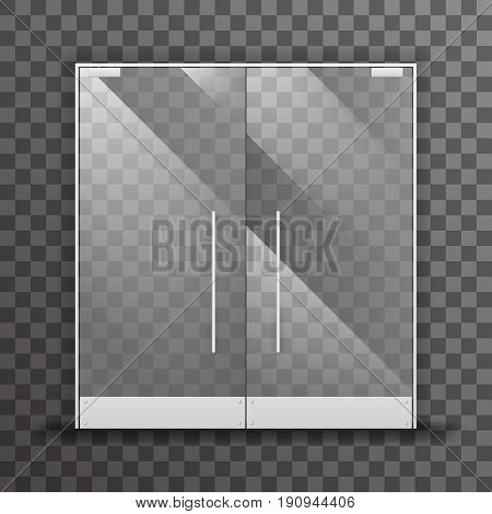 Closed transparent isolated shop double doors realistic glass architectural interior design element vector illustration